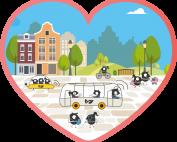 I ett Hjärta med rosa kant syns små svarta animerade figurer. De åker buss och promenerar i en färgglad stad.